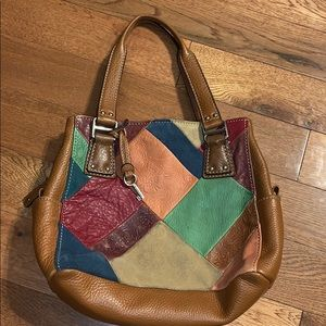 $bogo$ vintage Fossil patchwork leather purse bag